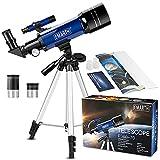 Telescopio Astronómico para niños principiantes, 70/360 con ampliación ampliación de 51- 128x. Telescopio portable con trípode ajustable