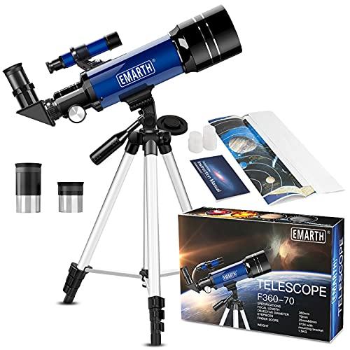 Teleskop für Kinder und Einsteiger für Beobachtung von Himmel und Landschaft- 70mm fernrohr Teleskop Astronomisches Mit verstellbarem Stativ & Rucksack