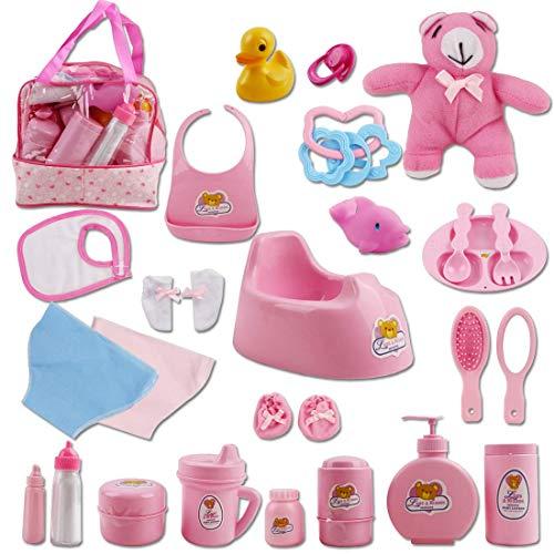 deAO Bolso de Maternidad Incluye 27 Accesorios para Muñecas Bebé Conjunto Infantil de Imitación para Jugar a ser Mamá y Papá