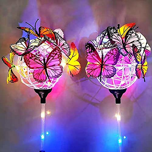 Solar Stake Lights Butterflies Decor Lights,Butterfly Ball Solar Garden Lights Garden Outdoor Decorative,Waterproof Butterfly Multicolor Solar LED Stake,for Garden,Patio,Yard(Transparent rod)