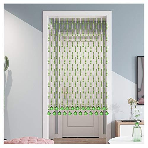 GuoWei-Cortinas de Cuentas, Personalizable Sin Perforaciones Cortina De Partición Espacial Usado para Ventana Terraza, Color Verde (Size : 21 Strands -0.7x0.86m)