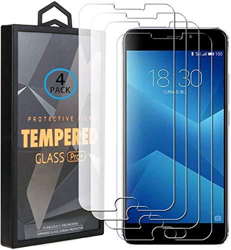 Ycloud 4 Pack Vidrio Templado Protector para Meizu M5 Note/Meizu Note5, [9H Dureza, Anti-Scratch] Transparente Screen Protector Cristal Templado para Meizu M5 Note