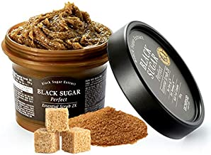SKINFOOD Black Sugar Perfect Essential Scrub 2X 7.4 fl.oz. (210g) - Facial Exfoliating Massage Scrub without Irritation, Removes Blackheads and Dead Skin Cells for Rough Skin, Skin Smooth and Clear