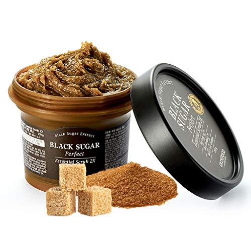 SKINFOOD Exfoliante esencial Black Sugar Perfect 2X 7.4 oz.(210g) - Exfoliante facial de masaje sin irritación, elimina los puntos negros y las células muertas de la piel