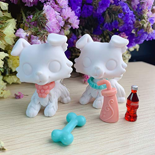 Judylovelps lps Custom Collie White Base, OOAK White Collie Molds with lps Accessories Collar Cola Drinks Kids Birthday Gift