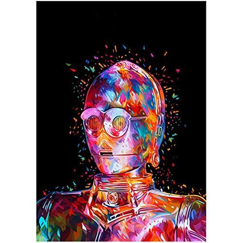 Pintura Diamante 5D Kit Completo De Punto De Cruz Diamante Foto De Dibujos Animados De Robot De Star Wars DIY Diamante Bordado Mascota Arte De Pared Regalo Decoración Del Hogar 15.7 × 19.7 Inches