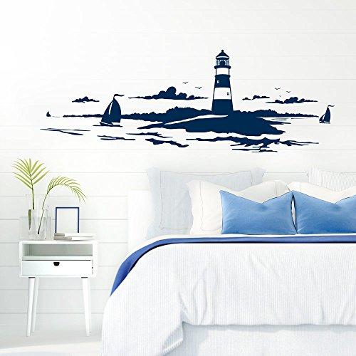 Grandora Skyline Küstenlandschaft Leuchtturm I dunkelblau 90 x 30 cm I Bad Wohnzimmer Schlafzimmer Aufkleber Wandaufkleber Wandsticker Modern W974