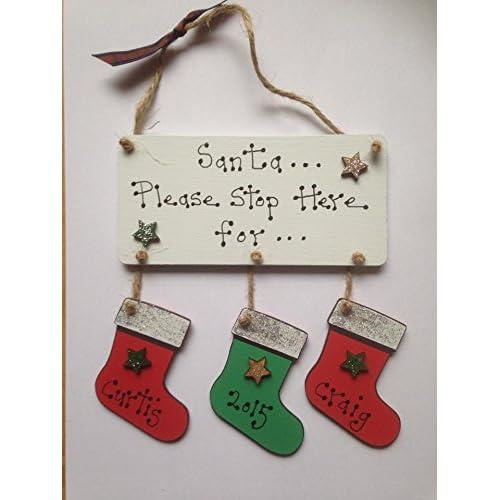 Personalised Santa Stop Here Window Sign ~ Santa Sack Christmas Decorations & Trees Brown