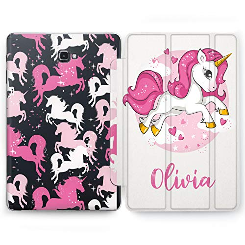 Wonder Wild Pink Unicorn Samsung Galaxy Tab S4 S2 S3 Smart Stand Case S6 S5e 2019 2017 2018 Tablet Cover 8 Pen 9.7 10.1 10.5 Design Cover Personalized Girly Kids Glitter Bright Cute Cartoon Narwhal