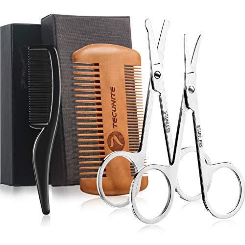 4 Stück Bartscheren Set, Putzschere für Männer und Schnurrbart Bart Kamm Bart Pflege Trimmen Schere Kit mit Aufbewahrungstasche (Stil 2)