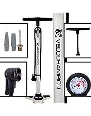 VeloChampion Bomba Pro De Bicicleta Profesional De Bastidor/Pie con Manómetro – La Mejor High Pressure Track Pump