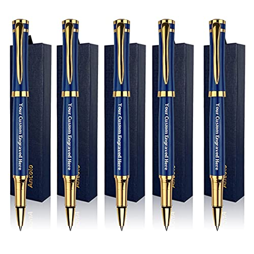 Personalized Blue Office Pens Rollerball Pen Classic pens Fine Point Smooth Writing set Engraved with Your Message/Slogan/Phone number - Perfect for Teacher/Manager/Lawyer/Professor 5Pcs/Pack