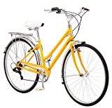 Schwinn Wayfarer Bike Mens and Womens Hybrid Retro-Styled Cruiser, 7-Speed, 28-inch Wheels, Small Frame, Yellow