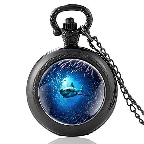 DDSCB Reloj De Bolsillo para Hombre,Vintage Ocean Black Hole Shark Cadena De Cuarzo Negro Reloj De Bolsillo Collar Colgante con Números Arábigos Dial para Hombres, Mujeres, Niños, Navidad Goft
