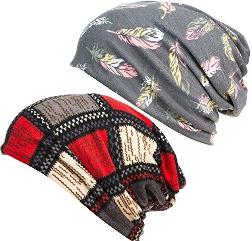 DancMolly Damen drucke blüte cap krebs mützen beanie stretch beiläufigen turbane eine größe gepasst den meisten 2 paar, feder grau + muster schwarz