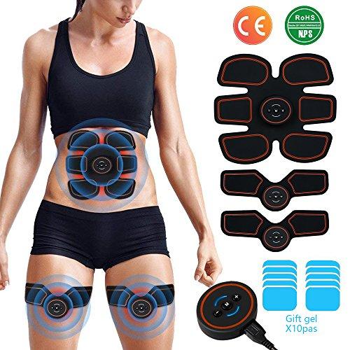 EGEYI EMS Muskelstimulation Elektrostimulatoren, Muskelstimulator Training Muskelstimulator Elektroden Pads,Bauchmuskeltrainer Damen Herren Elektrisch Muskel Massagegerät,Sende Gel 10 Tabletten