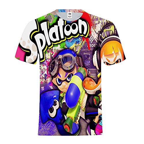 Splatoon Camiseta Ocio Impreso Manga Corta Clásico Top Redondo Cuello Suelto Cómoda Camiseta Unisex (Color : A08, Size : XS)