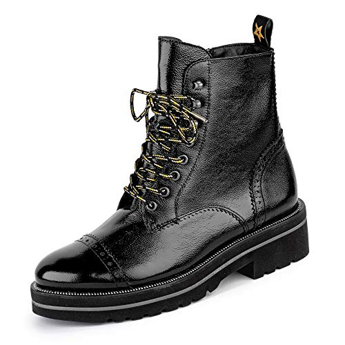 Paul Green 9668 005 Damen Sportiver Boots aus Lackleder Lederinnenausstattung, Groesse 41, schwarz