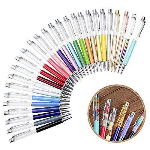 27 Pack Colorful Empty Tube Floating DIY Pens,Building Your Favorite Liquid Sand Pens Gift