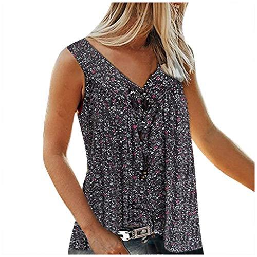 Camiseta sin mangas para mujer con cuello en V, diseño de flores Negro XXXXXL