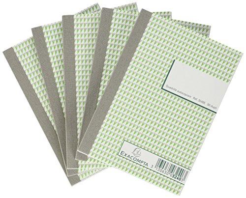 Exacompta 3240SE Paquet de 5 Manifolds quadrillé 5x5 petits carreaux 14,8 x 10,5 cm 50 feuillets dupli autocollant numéroté de 1 à 50