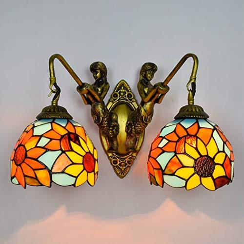 lámpara de paredLuces de pared estilo Tiffany, lámpara de pared con aplique de vidrio, lámpara de cabecera del dormitorio, luz de noche de decoración de cristal de sala de estar de pastoral americ