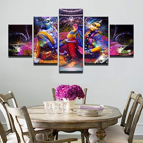 HNTHBZ Moderna Lienzo Pintura Impreso imágenes de Alta definición Decoración 5 Piezas India Mito Vishnu y Lakshmi Poster Shiva y Parvati Pintura Pared del Sitio del Arte