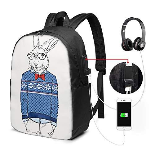 WEQDUJG Mochila para El Laptop para Ordenador del Trabajo Viaje Conejo Conejo...
