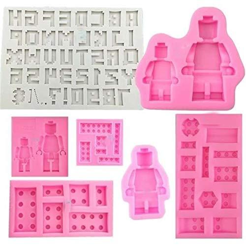 UCWEV Fondant Kuchen Werkzeuge Silikon Lego Form Roboter Lego Kuchenform Eisform Backform (Color : 5)