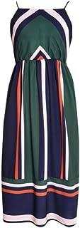 Limsea 2019 Women Cami Dress Slash Neck Empire Color Block Striped Print Beach