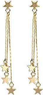 Lucky Star Pendant Tassel Dangle Earrings Fashion Long Shooting Star Drop Earrings Stud for Women Girls
