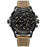 Men's Leather Strap Army Sports Chronograph Quartz Wrist Watches with Double Time Zone (Black)