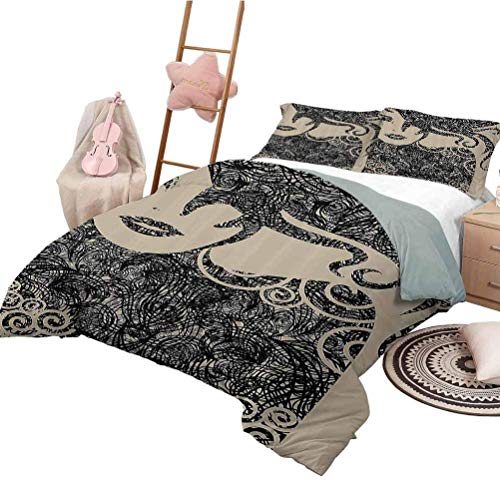 Modern Decor Duvet Cover Quilt Set Woman with Cool Posing Wavy Sexy Hot Hair and Vamp Makeup Image Print Comfy Bedding Extra Lightweight Modern Twin Size XL