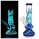 Bong de vidrio de fluorescencia alta de 10 pulgadas Bong Cool Reciclar plataformas petroleras Fumar Iluminar Bongs Pipa de agua (Azul)