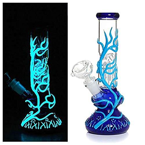 RORA Bong de Vidrio de Fluorescencia Alta de 10 Pulgadas Bong Cool Reciclar Plataformas petroleras Fumar Iluminar Bongs Pipa de Agua (Azul)