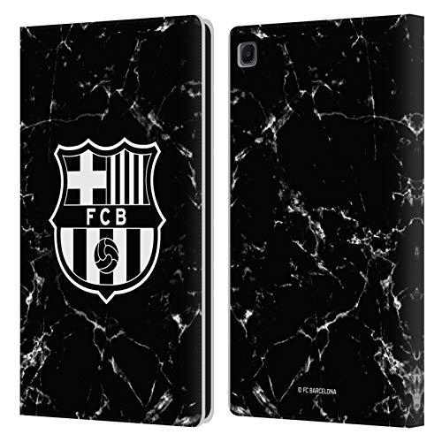 Head Case Designs Licenciado Oficialmente FC Barcelona Mármol Negro Crest Patterns Carcasa de Cuero Tipo Libro Compatible con Samsung Galaxy Tab S6 Lite