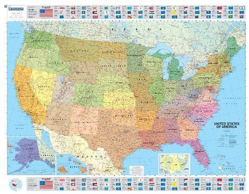 Mapa plastificado U.S.A. Político: Wall Map (Mapas en tubo y plastificados Michelin)