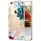 OKZone Coque iPhone 6S Plus / 6 Plus [avec Film de Protection écran HD], Motifde Créatif Claires TPU Coque, Transparent Housse Etui pour Apple iPhone 6S Plus / 6 Plus 5,5 Pouces (Fleur)