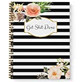 Softcover Classic Floral Get Stuff Done 8.5' x 11' Motivational Spiral Notebook/Journal, 120 Checklist Pages, Durable Gloss Laminated Cover, Gold Wire-o Spiral. Made in the USA