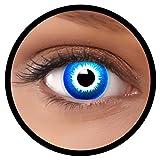 Farbige Kontaktlinsen blau Elf | Ideal für Halloween, Karneval, Fasching oder Fastnacht | Inklusive Behälter von FXEYEZ | Ohne Stärke als 2er Pack