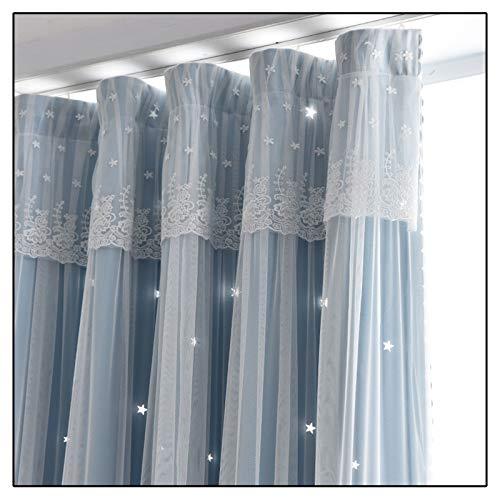 Cortinas Visillos 1pcs Instalación de Gancho Habitación Oscurecimiento Fibra de Poliéster Aspecto Estrella de Algodón Voile Transparente para la Decoración del Hogar Habitación Moderna,Azul,250x270cm