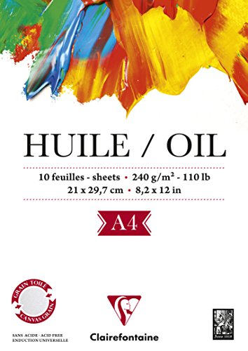 Clairefontaine 96311C Huile Ölpapier Block (verleimt, 10 Blätter, speziell für Ölfarben geeignet, 240 g, DIN A4, 21 x 29,7 cm) weiß