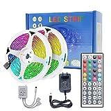 Tira de luces LED con mando a distancia 10 m/32.8 pies, DDS-DUDES cambio de color no impermeable 5050 RGB 300 leds tiras de luz Controlador IR de 44 teclas para decoración de dormitorio casa cocina