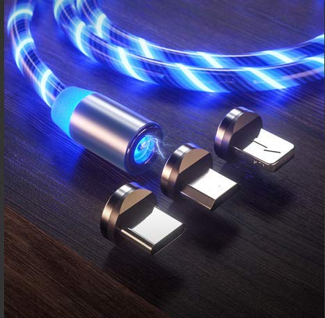 LED Flowing Magnetic Charger Blue Cable Light Up Candy Moving Party Shining Charger Phone Charging Cable Magnetic streamer absorption USB Snap Quick Connect 3 in 1 USB Cable (1 Cable+3 Magnetic Plugs)