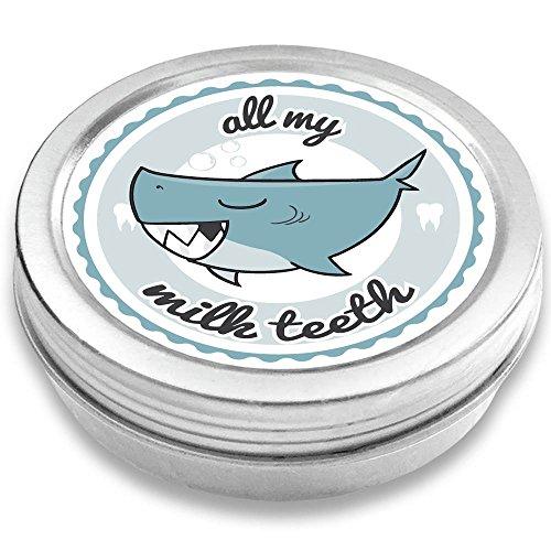 FANS & Friends Baby Teeth Box, Safe Screw Cap, Tooth Fairy tin boy & Girl, Sturdy Storage Box, Keepsake for Lost Milk Teeth, high-end Printing Shark