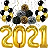 (2018 Swirls PomPoms) - 2018 Gold Balloons with Hanging Party Swirls, Paper Pom Poms, and Balloons - New Years Eve Party Supplies and Graduation Decorations - New Year Eve Decorations - Gold Black Silver PomPoms and Swirls