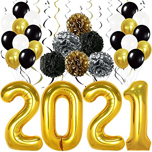 Gold 2021 Balloons for Graduation Decor - Large, 40 Inch | Black, Silver Hanging Swirls, PomPoms | Graduation Decorations 2021 Black and Gold | Graduation Balloons for Prom Class of 2021 Decorations