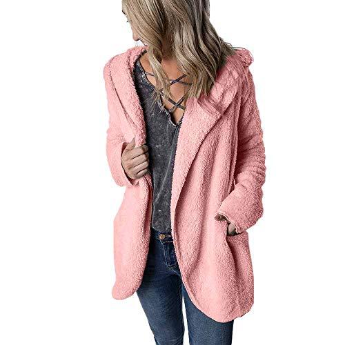 LEEDY clothing Cappotto e Giacche da Donna, Casual, a Maniche Lunghe, Invernale, Caldo, con Cappuccio, Cappotto Casual Rosa M