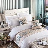 XZJJZ Camino de Cama Cosido Beige y Azul, Telas de Alta precisión, Decoraciones adecuadas para Bed and Breakfast, Posada, Dormitorio y habitación de Hotel Personalizados 50x260cm