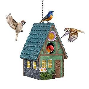 banllis hanging birdhouse decorative resin bird house for outdoor hand crafted bird nest garden farmhouse decor for wild birds hummingbird cardinal finch bluebird